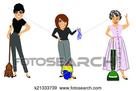Clip Art of cleaning ladies at work k21333739 - Search Clipart