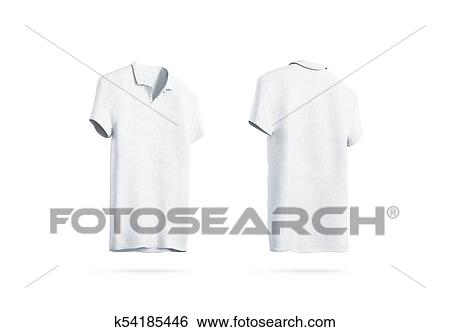 Stock Illustration of Blank white polo shirt mockup isolated, front