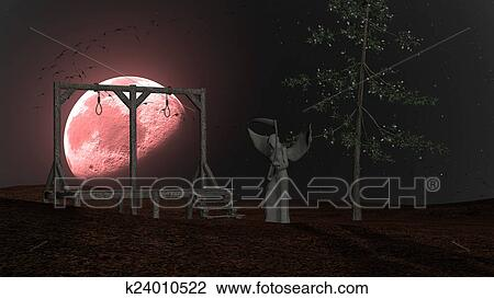 Clip Art of Angel of Death - Spooky Night background with Gallows