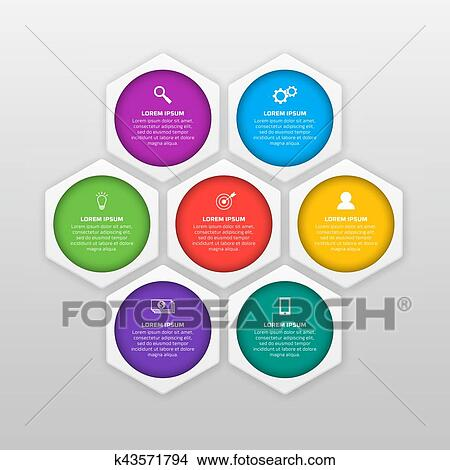 Clipart of Vector infographics template with six options in material