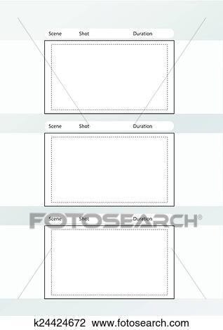 Clipart - storyboard, modelo, vertical, x3, notas, espaço - vertical storyboard
