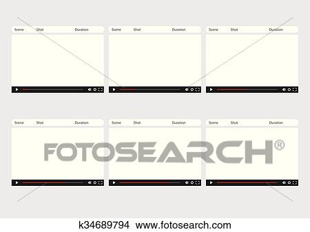 Clipart of video player 6 frame storyboard template k34689794 - video storyboard template
