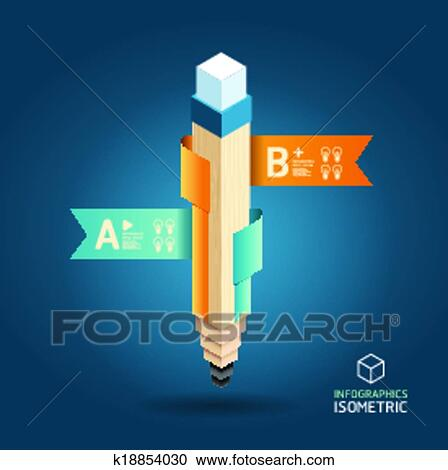 Clipart of Creative Template with pencil ribbon banner isometric