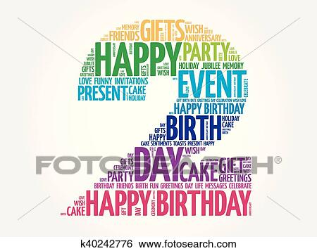 Clip Art of Happy 2nd birthday word cloud k40242776 - Search Clipart
