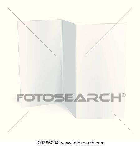 Clipart of Blank white vector tri fold brochure template k20356234