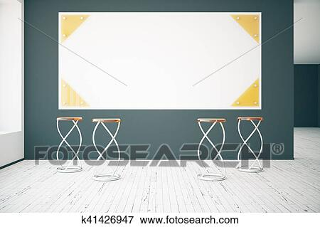 Stock Illustration of Interior with blank poster k41426947 - Search