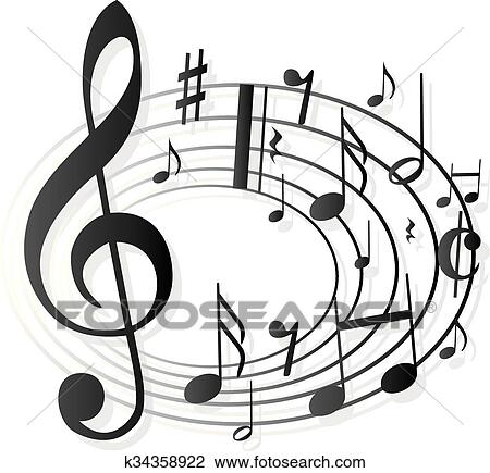 Clipart of Music Notes Clef k34358922 - Search Clip Art - clef music