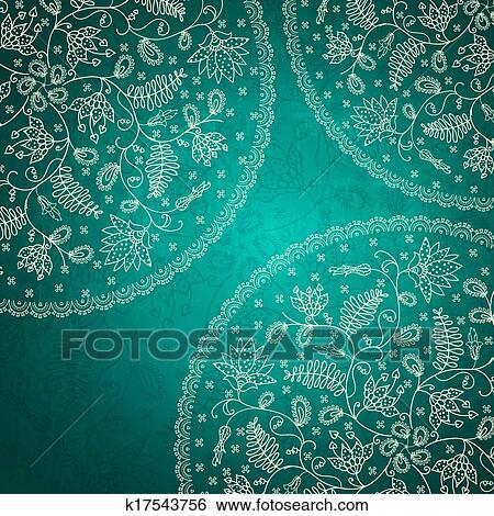 Stock Illustration of turquoise round flower background k17543756