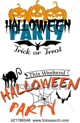 Clip Art of Halloween party invitation k21786548 - Search Clipart