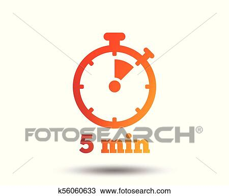 Clipart of Timer sign icon 5 minutes stopwatch symbol k56060633