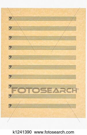 Stock Photography of Blank Music Sheet 4, Bass Clef k1241390 - bass cleft sheet music