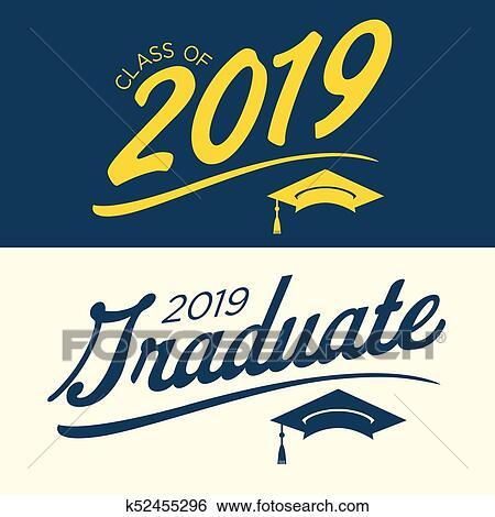 Clip Art of Class of 2019 Congratulations Graduate Typography
