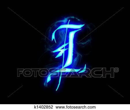 Clip Art of Blue flame magic font over black background Letter I