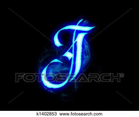 Drawing of Blue flame magic font over black background Letter J