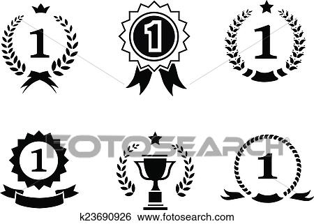 Clip Art of Set of black and white circular vector winner emblems