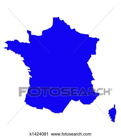 Outline map of France in blue Clipart k1424081