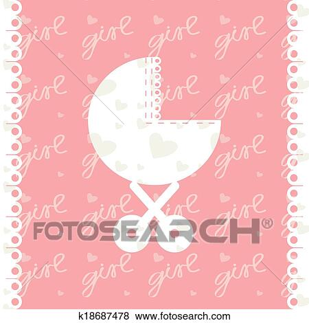 Clip Art of Greeting card of newborn baby girl Vector EPS 10 - greeting for new baby girl
