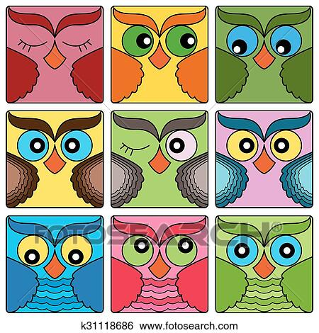 Clip Art of Nine cute owl faces in square shapes k31118686 - Search