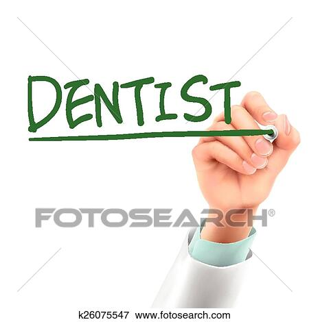 Clip Art of doctor writing dentist word k26075547 - Search Clipart - word clip art
