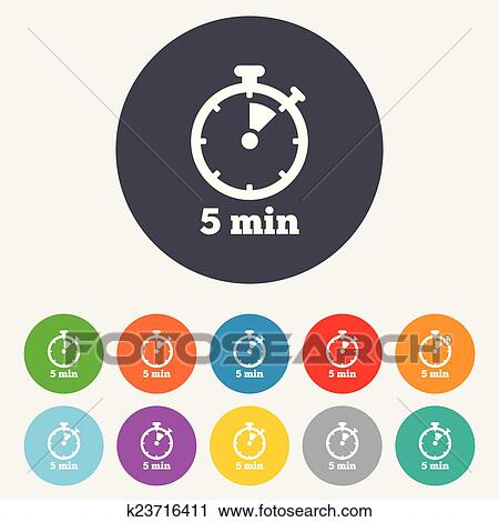 Clipart of Timer sign icon 5 minutes stopwatch symbol k23716411