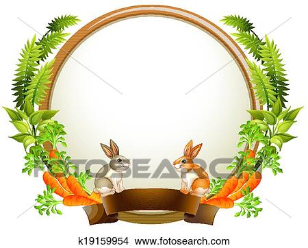Clipart of An empty round templates with plants and animals