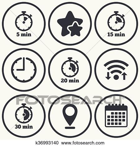 Clipart of Timer icons Five minutes stopwatch symbol k36993140