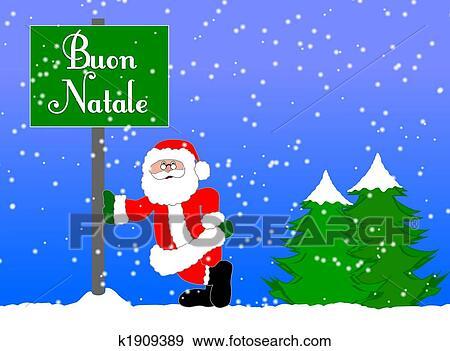 Stock Illustration of merry christmas background italian k1909389