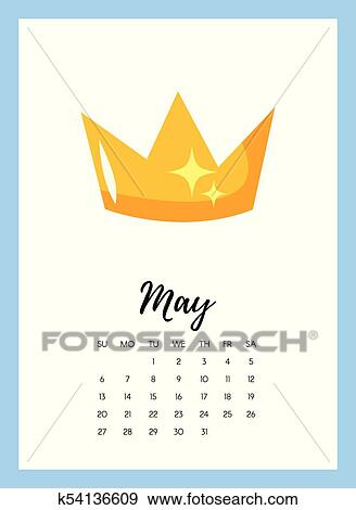 Clip Art of May 2018 year calendar page k54136609 - Search Clipart