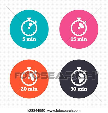 Clipart of Timer icons Five minutes stopwatch symbol k28844950