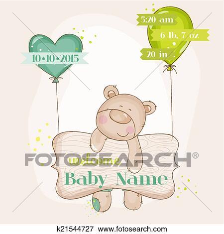 Clip Art - oso del bebé, con, globos, -, fiesta de nacimiento, o