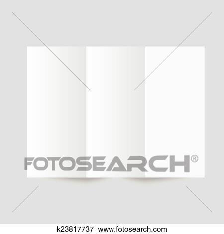 Clip Art of White stationery blank trifold paper brochure k23817737