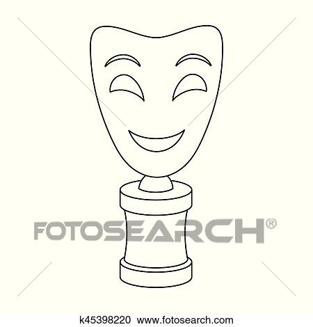 White mask MIME on the standThe prize for best dramaMovie awards single  icon in outline style vector symbol stock illustration Clipart