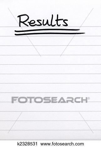 Stock Photography of Results, written on white lined blank paper