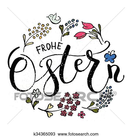 Clipart of Ostern (Easter in German) postcard, card, invitation
