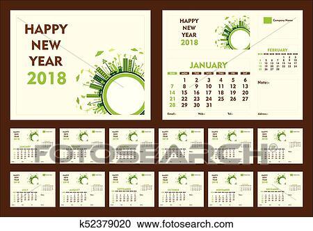 Clipart of creative new year 2018 calendar template design k52379020