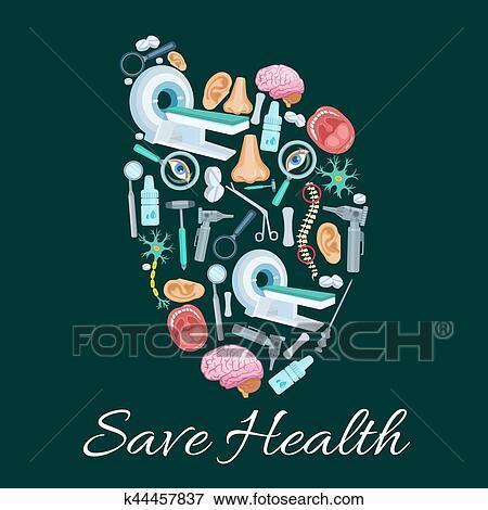 Clip Art of Health medical poster of vector heart symbol k44457837