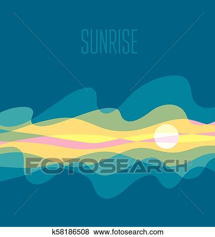 Clip Art of abstract sunrise sky vector illustration daybreak