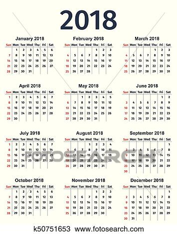Clipart of Calendar 2018 year Vector template planner k50751653