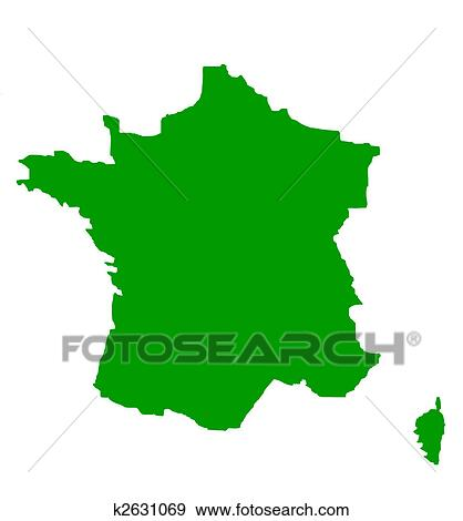 Stock Illustration of Outline map of France in green k2631069