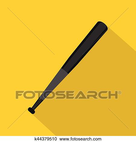 Clipart of Wooden baseball bat icon, flat style k44379510 - Search