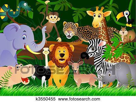 Jungle Animal Wallpaper Clipart Mignon Animal Dessin Anim 233 Dans Les Jungle
