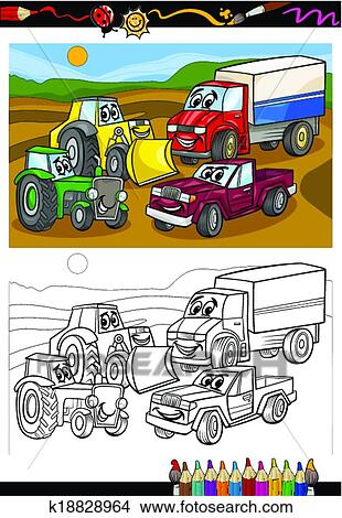 Clipart of cartoon cars and trucks for coloring book k18828964