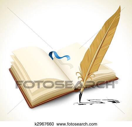 Stock Illustrations of opened book with ink feather tool k2967660 - opened book