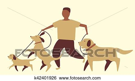 Clip Art of Dog walker graphic k42401926 - Search Clipart