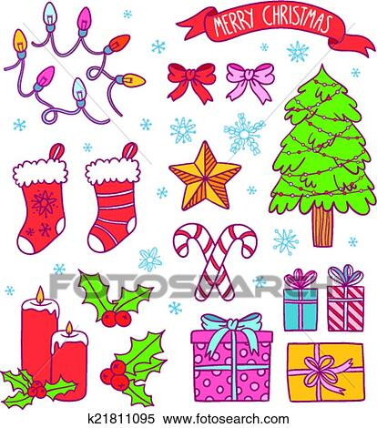 Cute Ribbons Wallpaper Clipart Of Cartoon Christmas Symbols Collection Presents