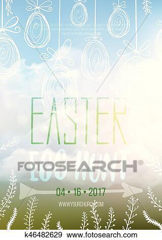 Clip Art of Easter Egg Hunt, vector Easter invitation poster