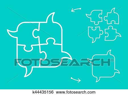 Clip Art of Brainstorming puzzle speech bubbles concept k44435156
