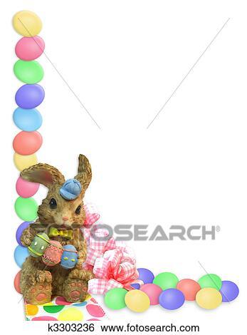 Easter Border eggs bunnies Stock Illustration k3303236