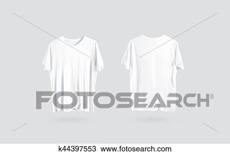 Stock Photo of Blank white t-shirt front and back side view, design