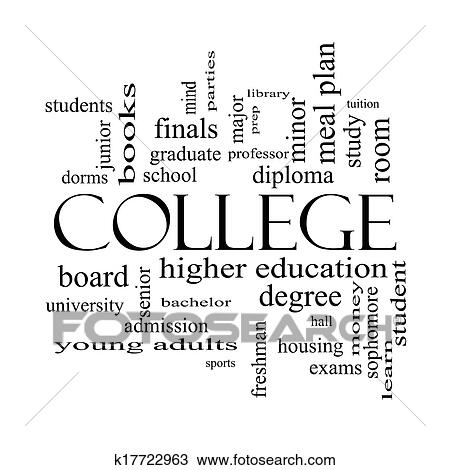 Stock Photo of College Word Cloud Concept in black and white